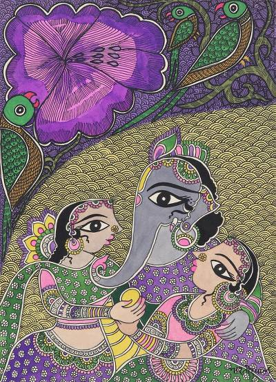 Madhubani Painting of Ganesha with Wives from India