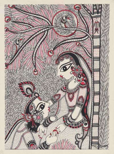 Black and White Madhubani Painting of Krishna and Radha