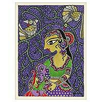 Madhubani painting, 'Mother and Child II' - Madhubani Painting of Yashoda and Krishna from India