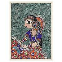 Madhubani painting, 'In Love With Nature II' - Madhubani Painting of a Woman with Flowers from India