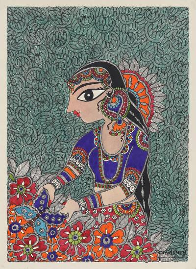 Madhubani Painting of a Woman with Flowers from India