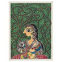 Madhubani painting, 'Mother and Child III' - Madhubani Painting of Yashoda and Krishna from India