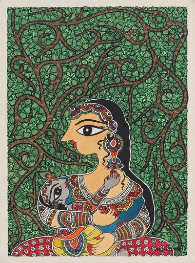 Madhubani Painting of Yashoda and Krishna from India