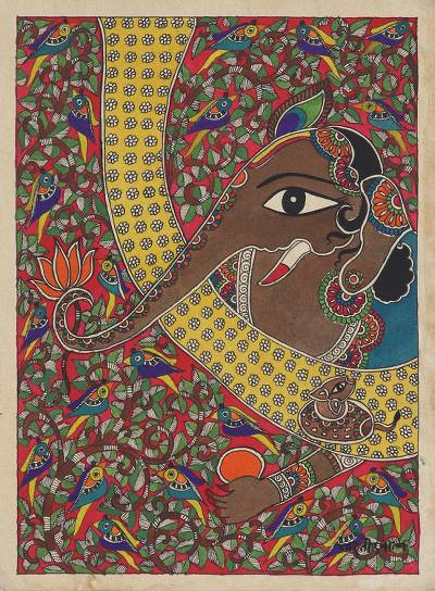 Madhubani Painting of Ganesha from India
