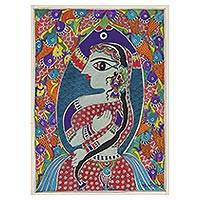 Madhubani painting, 'Mermaid II' - Madhubani Painting of a Mermaid and Fish from India