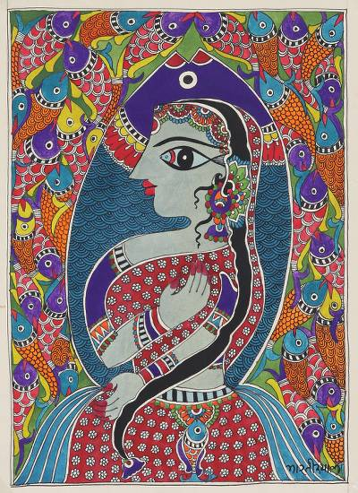 Madhubani Painting of a Mermaid and Fish from India