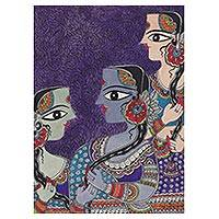 Madhubani painting, 'Friendship II' - Friendship-Themed Madhubani Painting from India