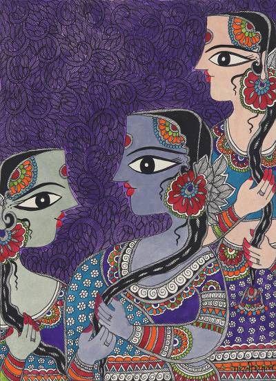 Friendship-Themed Madhubani Painting from India