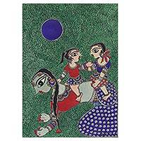 Madhubani painting, 'Fun Family Time' - Madhubani Painting of a Mother with Her Children from India