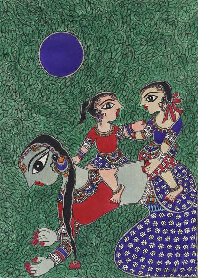 Madhubani Painting of a Mother with Her Children from India