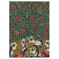 Madhubani painting, 'Women Talks' - Signed Madhubani Painting of Talking Women from India
