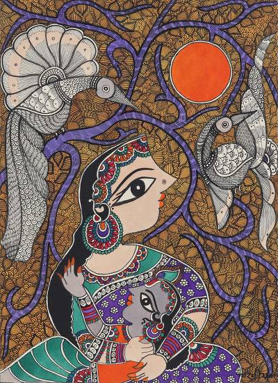 Mother and Child Hindu Madhubani Painting from India