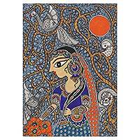 Madhubani painting, 'In Love With Nature III' - Signed Madhubani Painting of a Woman in Nature from India