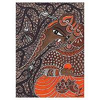Madhubani painting, 'The Everloving Ganesha' - Brown Madhubani Painting of Hindu God Ganesha from India