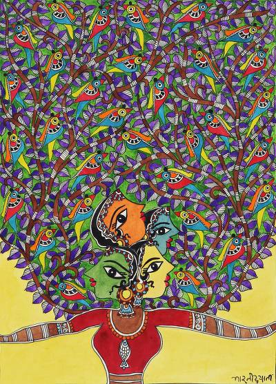 Creative Madhubani Painting of Tree and Birds from india