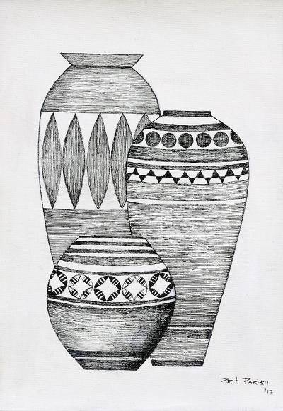 Signed Ink Painting of Three Pots from India
