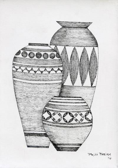 'The Pot III' - Black and White Ink Painting of Three Pots from India