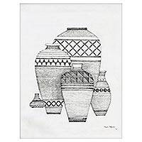 'The Pot IV' - Signed Ink Painting of Five Pots from India