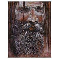 'Sadhu the Hermit I' - Signed Painting of a Sadhu in Earthtones from India