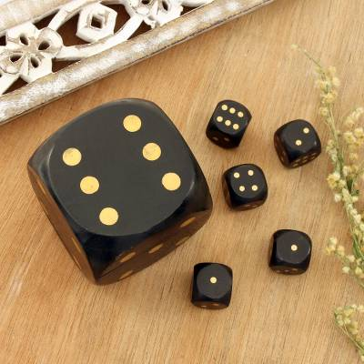 Wood decorative box and dice set, 'Elegant Dice' - Black Mango Wood with Brass Dots Decorative Box and Dice Set