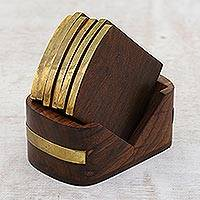 Wood and brass coasters, 'Dapper' (set of 6) - Mango Wood and Brass Inlay Coasters and Holder (Set of 6)