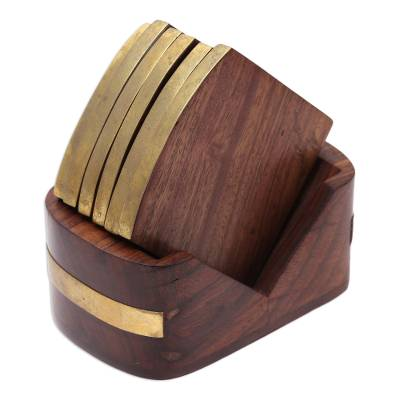 Mango Wood and Brass Inlay Coasters and Holder (Set of 6)