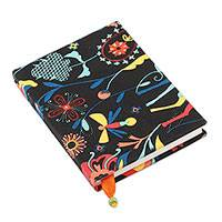 Cotton journal, 'Vibrant Nature' - Colorful Floral Cotton Journal Handcrafted in India