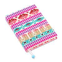 Cotton journal, 'Creative Mind' - Multicolored Geometric Cotton Journal Crafted in India