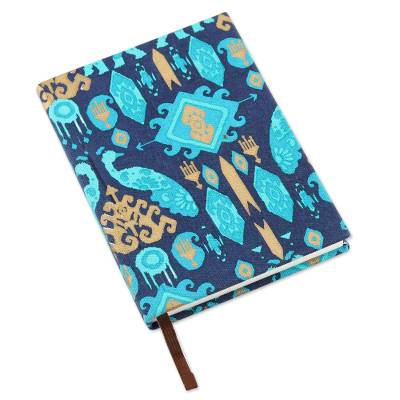 Cotton journal, 'Garden of Royalty' - Handcrafted Cotton Journal with Geometric Motifs from India