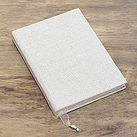 Cotton journal, 'Simple Chronicle' - Solid Alabaster Cotton Journal Handcrafted in India