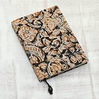 Cotton journal, 'Floral Story' - Floral Printed Cotton Journal Crafted in India
