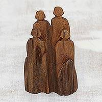 Driftwood figurine, 'Fun with Family' - Hand-Carved Khair Driftwood Figurine from India