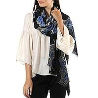Wool shawl, 'Midnight Garland' - Floral Motif Printed Wool Shawl from India