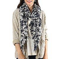 Wool shawl, 'Dark Taupe Beauty' - Dark Taupe Printed Wool Shawl Crafted in India