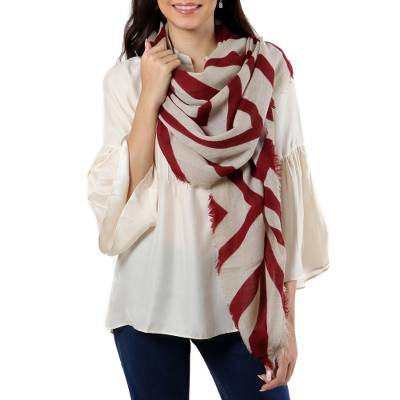 Wool shawl, 'Claret Bliss' - Claret-Striped Wool Shawl Crafted in India