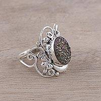 Drusy quartz cocktail ring, 'Fascinating Beauty' - Drusy Quartz and Sterling Silver Floral Motif Cocktail Ring