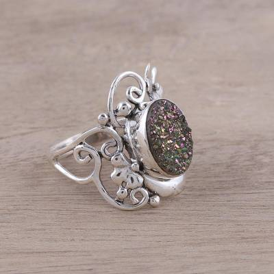 Drusy Quartz and Sterling Silver Floral Motif Cocktail Ring