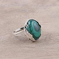 Malachite cocktail ring, 'Alluring Green' - Sterling Silver Green Malachite Art Deco Cocktail Ring