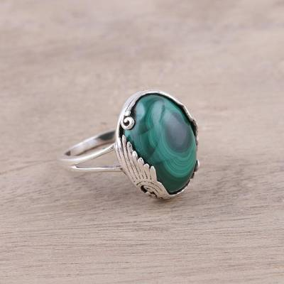 Sterling Silver Green Malachite Art Deco Cocktail Ring
