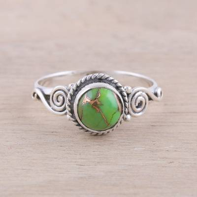 gold costume jewelry rings - Sterling Silver and Green Composite Turquoise Cocktail Ring