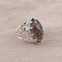 Smoky quartz cocktail ring, 'Bewitching' - Smoky Quartz and Sterling Silver Openwork Cocktail Ring