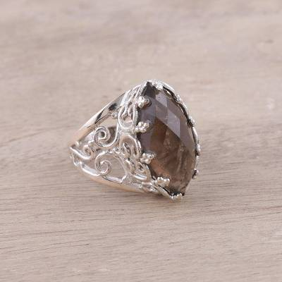 Smoky Quartz and Sterling Silver Openwork Cocktail Ring