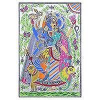 Madhubani painting, 'Celestial Union' - Madhubani Painting of Lord Shiva and Parvati from India
