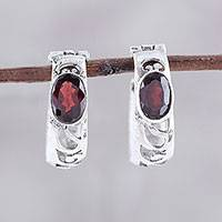 Garnet hoop earrings, 'Fireside Glow' - Oval Garnet and Sterling Silver Openwork Hoop Earrings