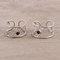 Garnet toe rings,