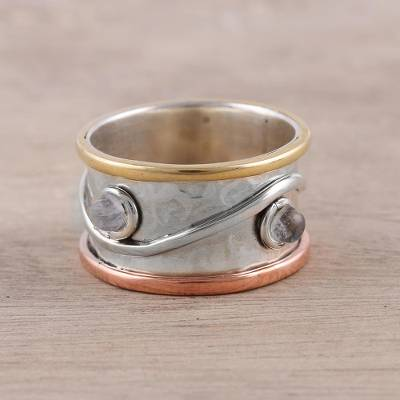 Rainbow moonstone band ring, 'Sparkling Union' - Mixed Metals and Rainbow Moonstone Hammered Band Ring