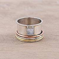 Rainbow moonstone meditation spinner ring, 'Serene Rotation' - Sterling Silver Copper Rainbow Moonstone Meditation Ring
