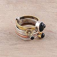 Onyx cocktail ring, 'Midnight Flowers' - Sterling Silver Copper Black Onyx Cocktail Ring