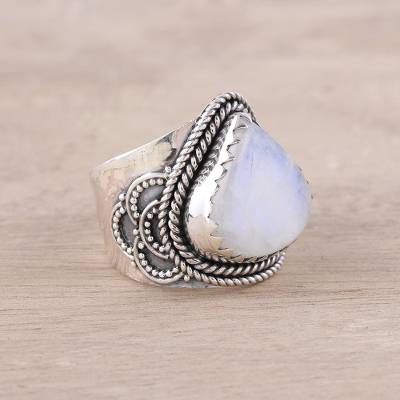 Teardrop Rainbow Moonstone and Sterling Silver Cocktail Ring