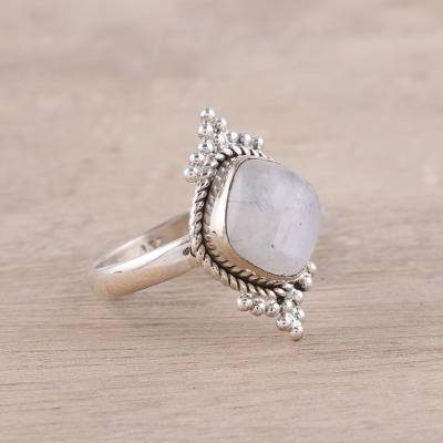 Square Rainbow Moonstone and Sterling Silver Cocktail Ring